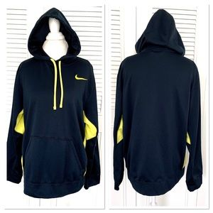 Nike Men's Therma Fit Pullover Navy/Yellow Hoodie
